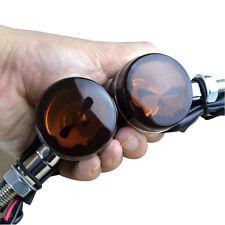 2x Motorcycle Bullet Turn Signals Amber Blinker Skull Light Indicator Harley USA