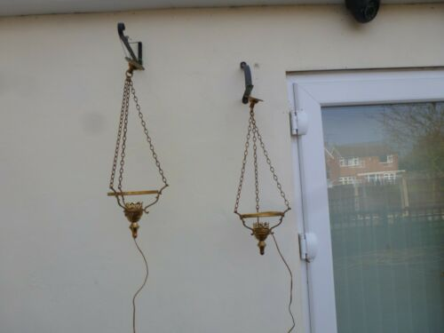 """Matching Pair Unusual Vintage Brass Hanging Ceiling Light for 6"""" Globe Shade"""
