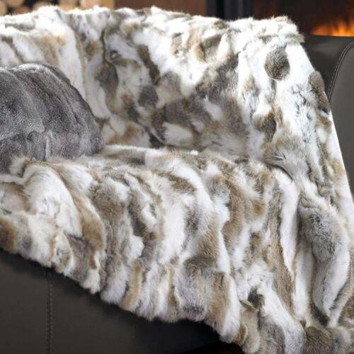 Natural 100/% Real Rex Rabbit Fur Throw Bedspread Blanket Carpet Luxury Comfort