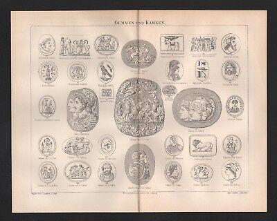 Sonderabschnitt Lithografie 1895: Gemmen Und Kameen. Gotische Gemme Kamee Zu Berlin