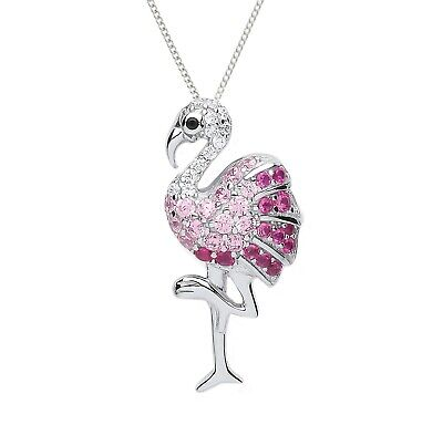 TJC Black Crystal Flamingo Chain Pendant Necklace for Women with White Crystal