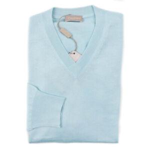 NWT-850-CRUCIANI-Sky-Blue-Lightweight-Cashmere-Silk-Sweater-Slim-S-Eu-48