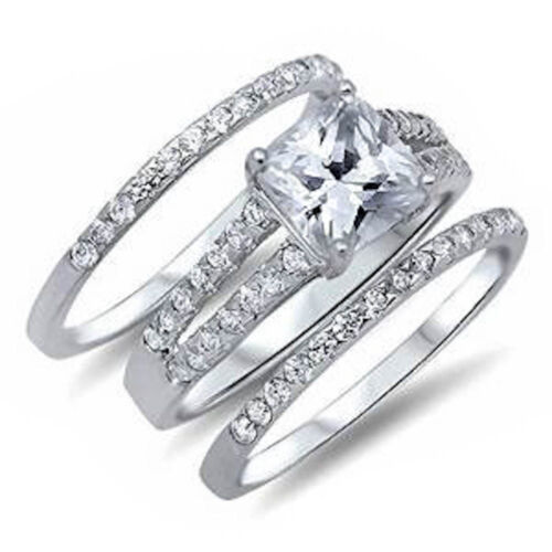 3 Wedding Ring Set Princess Cut Cz 925 Sterling Silver Ring Sizes 4 10
