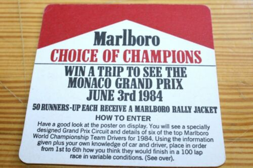 1 COASTERS MARLBORO MONACO GRAND PRIX 1984 CHOICE OF CHAMPIONS