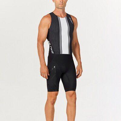 New 2XU Men Project X Trisuit Race Train Triathlon Tri Suit Black White MEDIUM