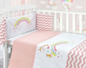 Details About Rainbow Unicorn Baby Pink Nursery Bedding Bale Stars Quilt Per Set Cot Bed