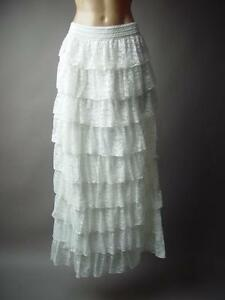 f7a4de38df0 Image is loading White-Tiered-Lace-Ruffle-Elegant-Victorian-Boho-Long-