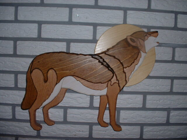 "#20 Handmade wood intarsia wolf approx W19"" x H 15"""