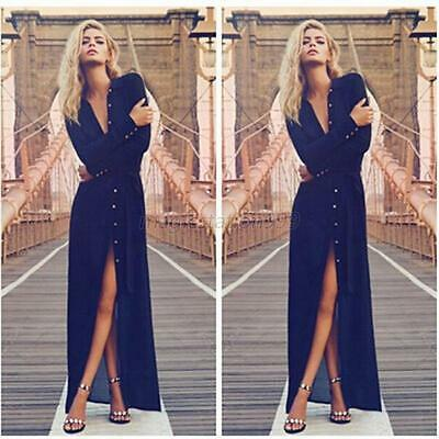 Fashion Evening Party Button Dress V-neck Womens Long Sleeve Maxi Dresses XL M71