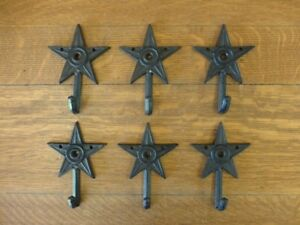 6-SMALL-6-034-BROWN-STAR-WALL-HOOKS-ANTIQUE-STYLE-CAST-IRON-western-rustic-hat-coat