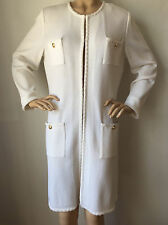NEW ST JOHN KNIT SZ 16 LONG BR WHITE SANTANA JACKET TOPPER WOOL RAYON