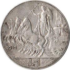 1912 Italy 1 Lira Silver Coin Quadriga Vittorio Emanuele III KM#45