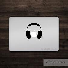 Headphones - Mac Apple Logo Laptop Vinyl Decal Sticker Macbook Music Sound
