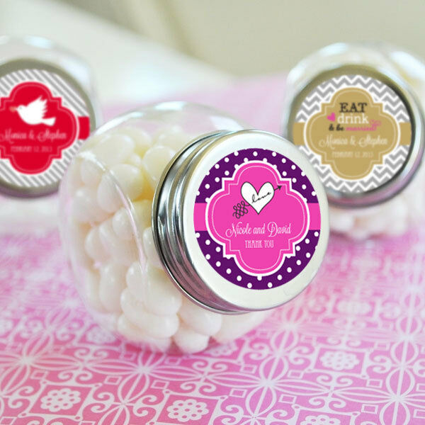 96 Wedding Theme Personalized Candy Jars Favors Lot