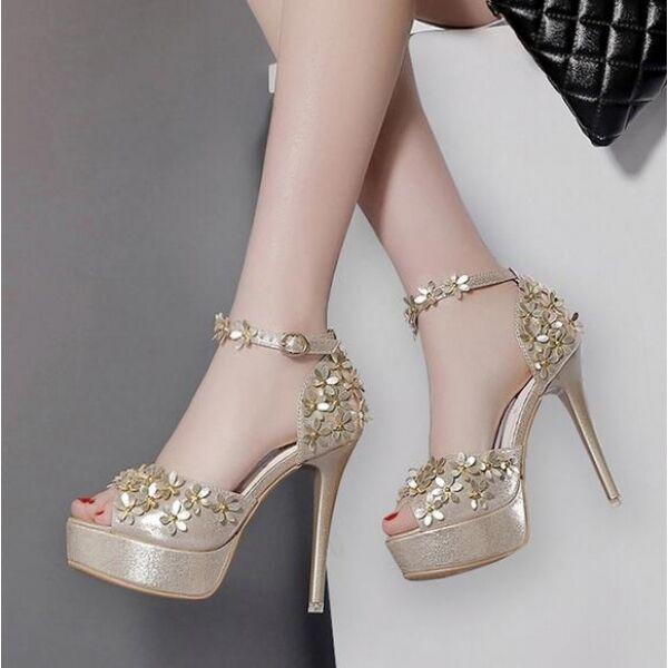 Sandalen Absatz 12 Plateau Gold elegant elegant elegant Gurt Stilett simil Leder CW460 ad6132