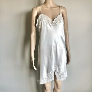 Christian-Dior-Vintage-Nightgown-Gown-Lingerie-Long-Camisole-White-Small-Medium