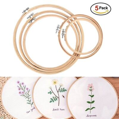 Wooden Cross Stitch Machine Bamboo Hoop Ring Embroidery Sewing P`B