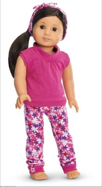 """4pc 18/"""" AMERICAN GIRL Doll Clothes SET Brown PANTS Pink CAT TOP BOOTS /& HEADBAND"""