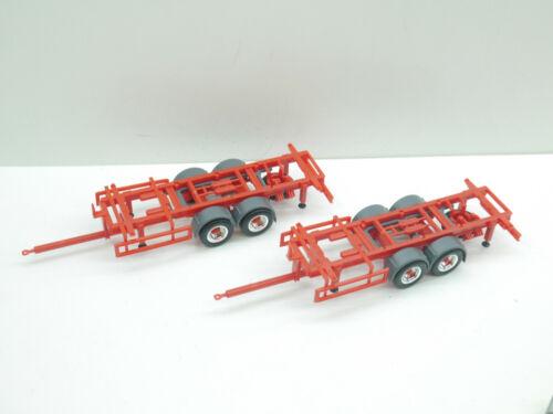 1:87 Herpa EM5110 2x 2achs Tandem Anhänger rot für WP für Umbau Eigenbau NEU