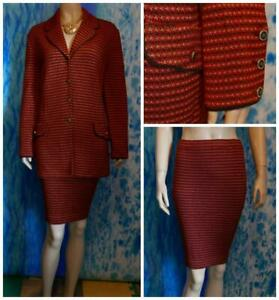 ST JOHN Collection Red Brown Jacket Skirt L 12 10 14 2pc Suit Metallic Gold