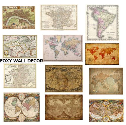 world map atlas globe earth antique old vintage print canvas or satin paper 70cm