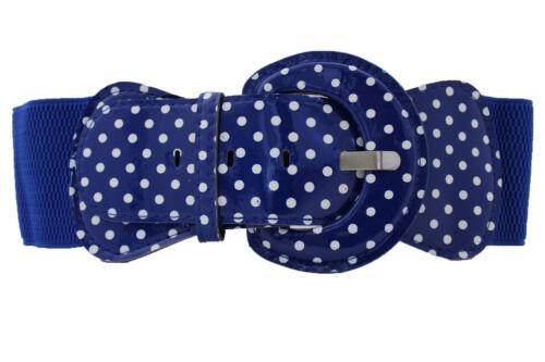 Women Fashion Wide Blue Elastic Belt White Polka Dots Circle Big Buckle M L XL