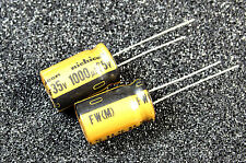 2pcs Nichicon Gold FW 1000uF 35v Radial Electrolytic Capacitor for Audio