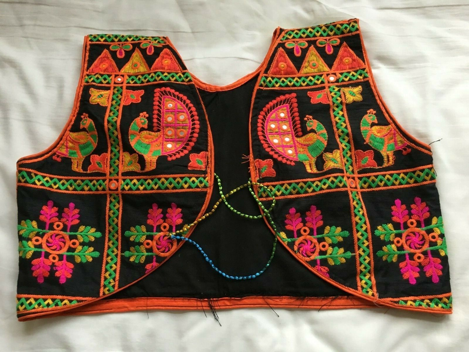 Black Indian Embroidered Mirrors Cotton Waistcoat UK Large