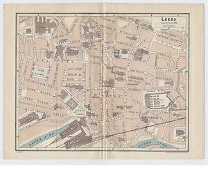 1924 Original Vintage City Map Of Leeds West Yorkshire England