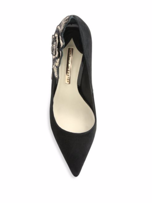 Sophia Webster Winona Floral-Embroiderot Suede Point-Toe Pump schuhe 39.5 39.5 39.5  640.00 876d5f