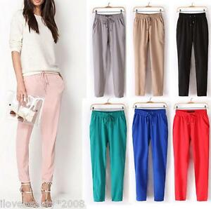 New-Fashion-Summer-Women-OL-Loose-Pants-Long-Trousers-Casual-Basic-Size-S-M-L-XL