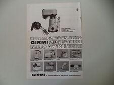 advertising Pubblicità 1968 GIRMI GASTRONOMO/CAFFETTIERA/AFFETTATRICE