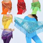 Triangle Belly Dance Hip Scarf Wrap Waistband Belt Skirt Coin Gold Sequin Tassel