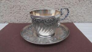 Ancienne tasse et sous tasse en métal argenté / Gallia / art déco