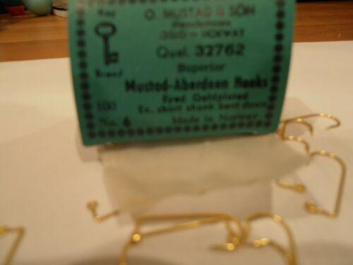 MUSTAD HOOKS--32762--SIZE 6--GOLDPLATED-90 DEGREE BEND-EYED-ABERDEEN--BOX OF 100