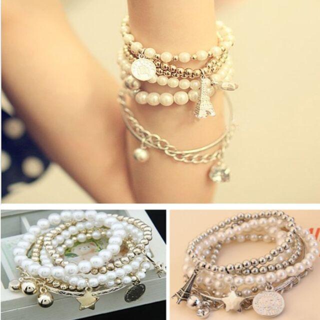 Retro Handmade Unique Gold Metal Pearl Multilayer Pendant Chain Jewelry Bracelet
