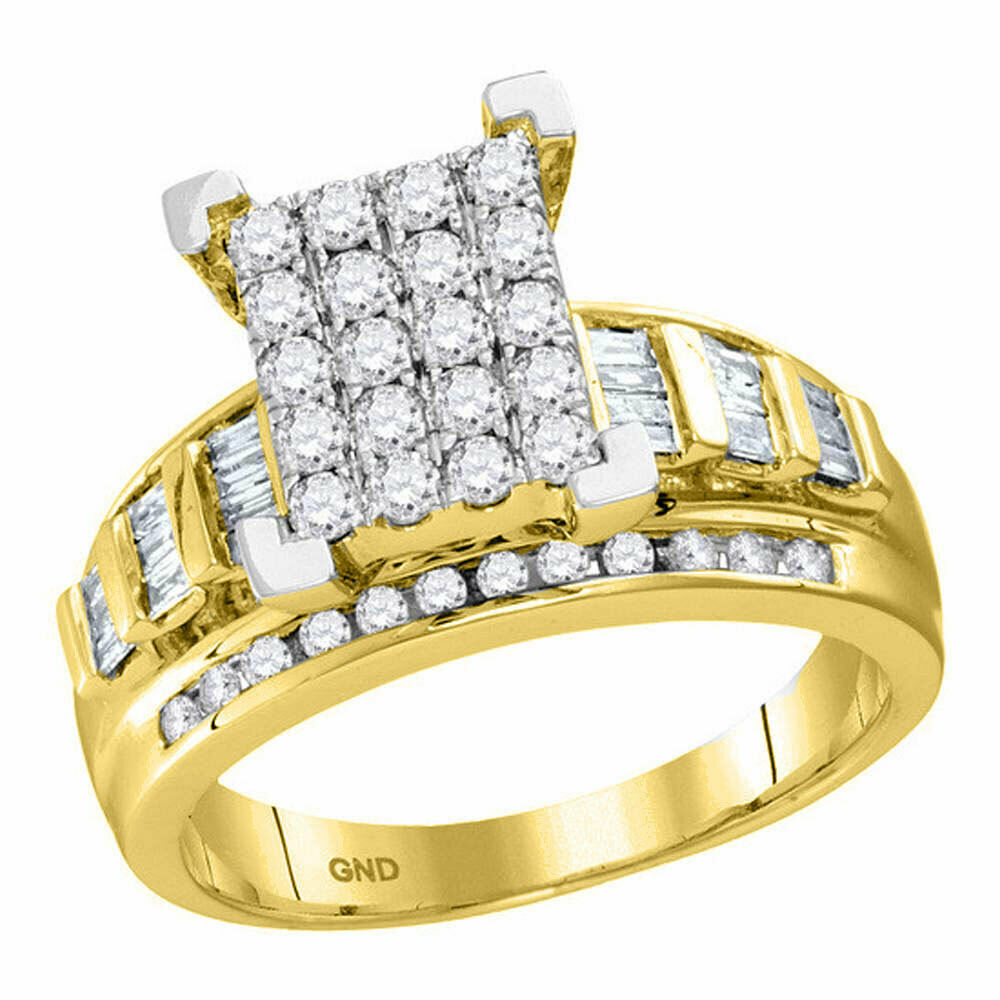 10kt Yellow gold Round Diamond Cluster Bridal Wedding Engagement Ring 1 2 Ctw