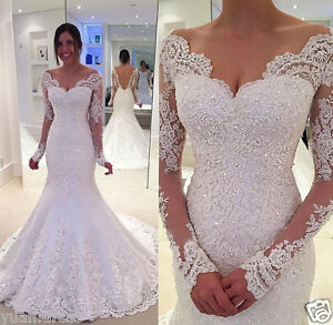 White-Ivory-Long-Sleeve-Mermaid-Lace-Applique-Wedding-dress-Bridal-Wedding-Gown