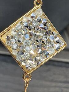 "Vintage Necklace Gold Tone  Crystal Rhinestone Bling Tassel 28"""