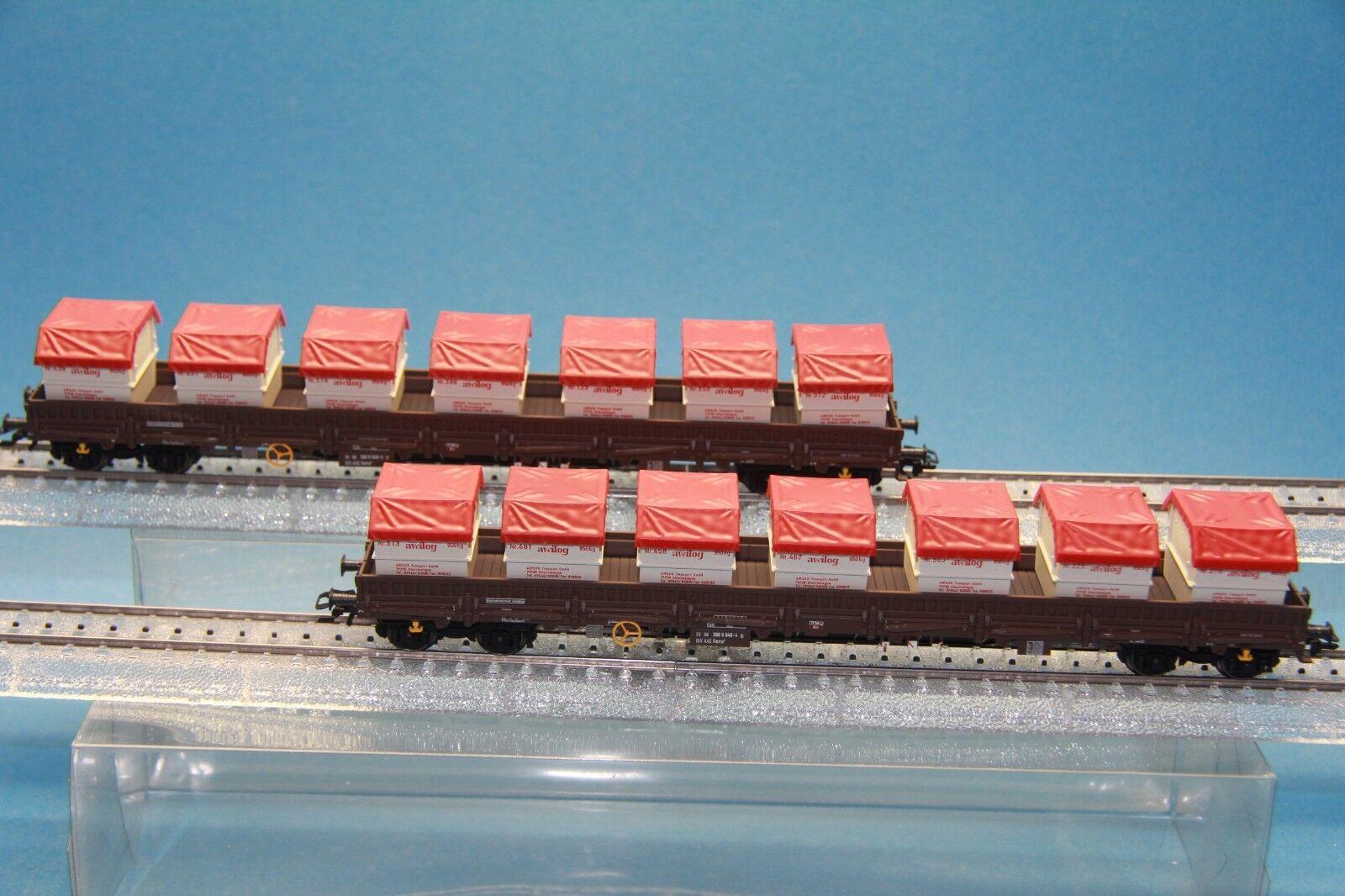 M&B Marklin HO HO HO 47029 Container low side board car set Awilog  MHI b976b2