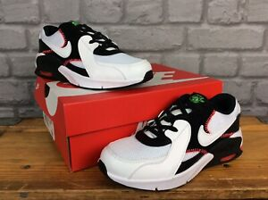 NIKE UK 1 EU 33 AIR MAX EXCEE BLACK WHITE RED TRAINERS CHILDRENS BOYS T