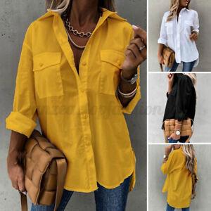 ZANZEA Women Cotton Long Sleeve Button Shirt Tops Lapel Casual Loose Blouse Plus