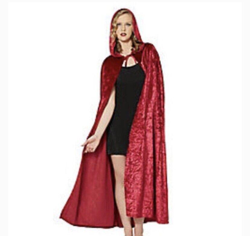ADULT Spirit Burgundy Red Velvet Hooded Cape Worn Once 00763391