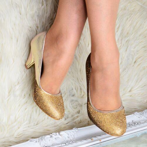 Ladies Gold Mid Heel Diamante Evening Shoes Wedding Bridesmaid Slip on Shoe size