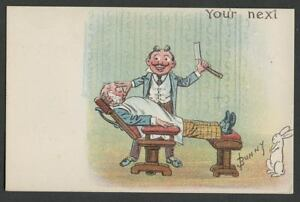 c-1905-06-Postcard-BARBER-SHOP-GIVES-A-SHAVE-IN-ADJUSTABLE-CHAIR-A-S-Bunny