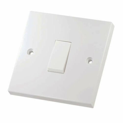 Single Gang Light Switch 1 Gang 1 Way White Plastic 6a