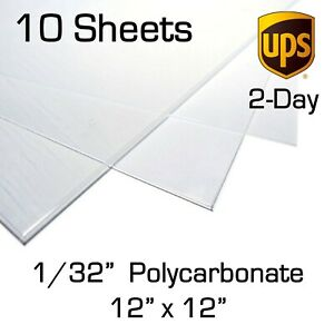 """10 Sheets 0.030/"""" x 12 x 12/"""" Clear Polycarbonate 1//32 Lexan PC for Face Shields"""