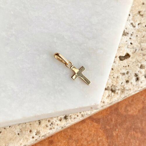 14KT Gelbgold Winzig Baby Größe Kreuz Anhänger Oder Ohrring Verwendung Als Glanz