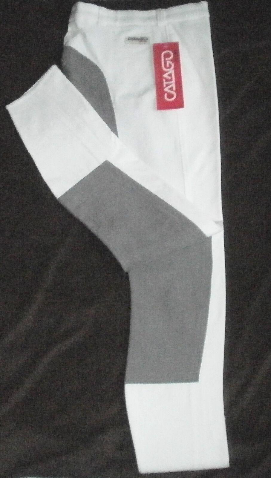 Catago Kinderreithose, 3 4 Vollbesatz,weiß, Gr. 152, Besatz dunkel grau, (162)  | Kaufen Sie beruhigt und glücklich spielen  | Klein und fein  | Heißer Verkauf