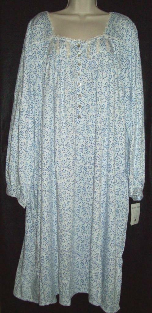 NWT EILEEN WEST 100% COTTON KNIT LONG SLEEVE SHORT GOWN 5014429 blueE FLORAL L